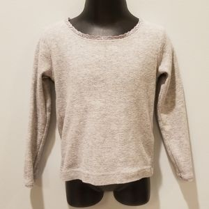 Mini Boden Gray Long Sleeve T shirt with Lace